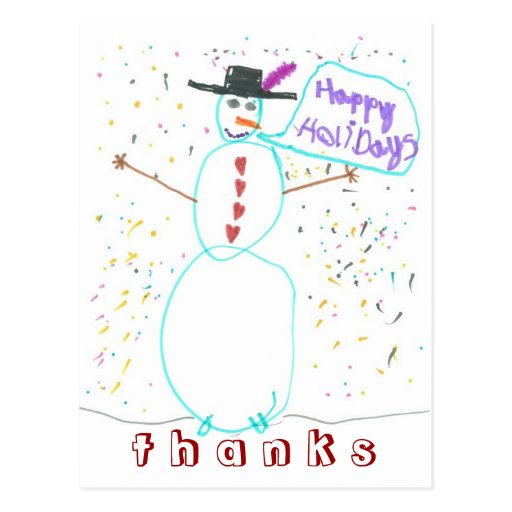 De agradecimiento del muñeco de nieve de los gráfi postales