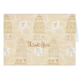 De agradecimiento del pastel de bodas o nota de la felicitaciones
