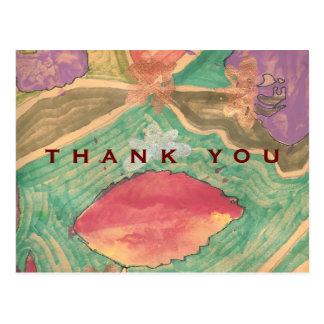 De agradecimiento precioso de las hojas de los postal