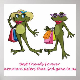 De BFF de los mejores amigos poster de la rana par