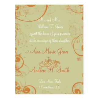 De color topo blanco anaranjado de la invitación postal