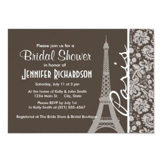 De color topo oscuro, damasco de Brown; París Invitación 12,7 X 17,8 Cm