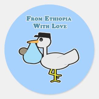 De Etiopía con el sello del sobre del amor Pegatina Redonda