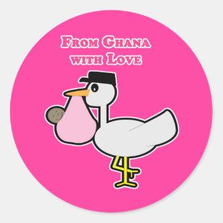De Ghana con el amor (chica) Pegatina Redonda
