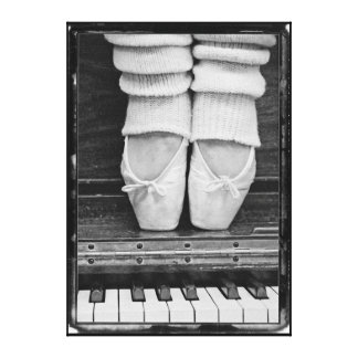 De gran tamaño blanco y negro del dúo del ballet impresión en lienzo estirada