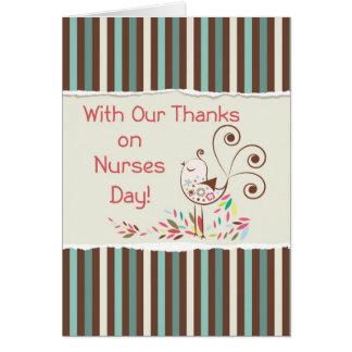 De grupo, día feliz de las enfermeras, pájaro tarjeta de felicitación
