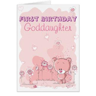 De la ahijada 1r cumpleaños primero del Godparent Tarjeta De Felicitación