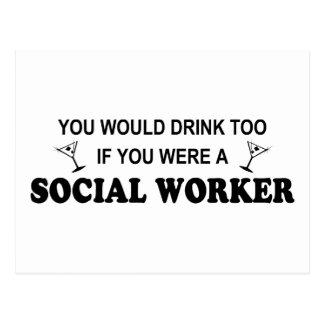 De la bebida asistente social también - postal