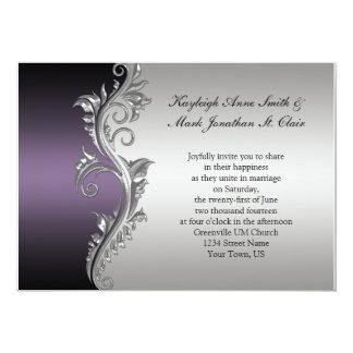 De la bodas de plata negra del vintage invitación