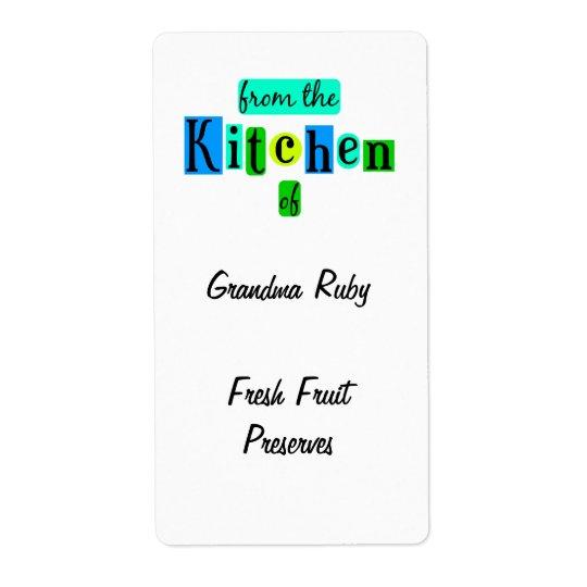 De la cocina de la etiqueta retra de la receta del