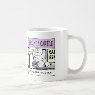 de la compañía del alquiler de coches taza de café