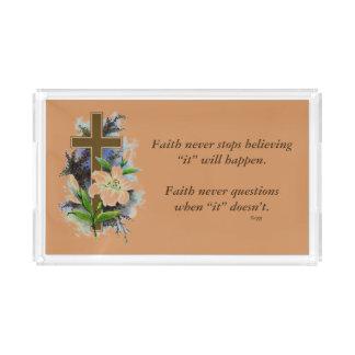 De la fe cruz de la flor de la bandeja w/Blue de