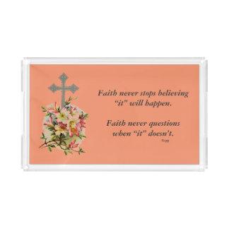 De la fe cruz de la flor de la bandeja w/Pink de