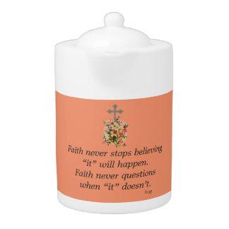 De la fe cruz de la flor de la tetera w/Pink nunca