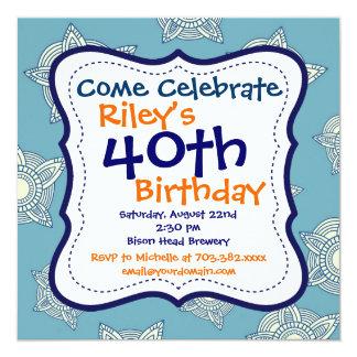 De la fiesta invitación azul y 40.a de cumpleaños