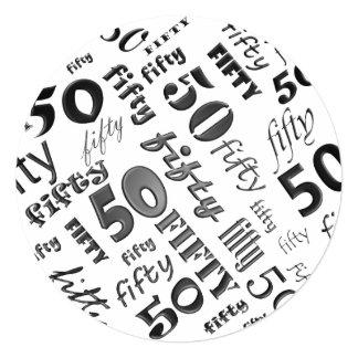 De la fiesta invitación negra y 50.a de cumpleaños