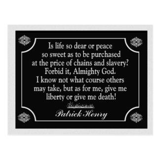 Dé la libertad o déme la muerte - postal