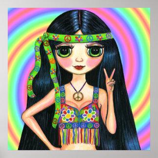 De la paz signo de la paz que destella del Hippie  Póster