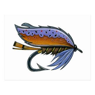 © de la postal de la pesca con mosca de la trucha