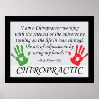 De la quiropráctica del ajuste poster a mano póster
