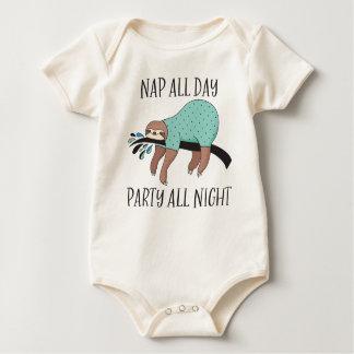 De la siesta fiesta todo el día toda la pereza body para bebé