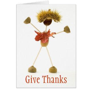 Dé la tarjeta de la acción de gracias del hombre d