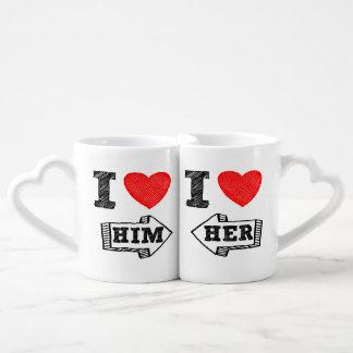 ♥ de la taza I del amante ÉL y ♥ de I que su