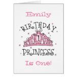 De la tiara 1ra cumpleaños tarjeta de la princesa