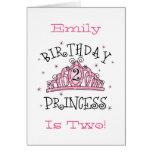 De la tiara 2da cumpleaños tarjeta de la princesa