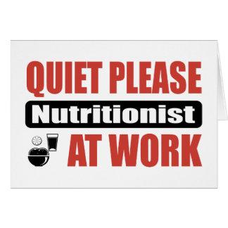De la tranquilidad nutricionista por favor en el t tarjeta de felicitación