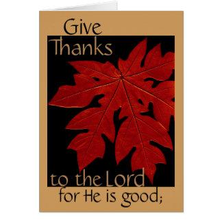 Dé las gracias al señor Thanksgiving Prayer Card Tarjeta De Felicitación
