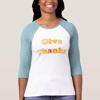Dé las gracias, arte de la palabra con el lirio camiseta