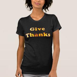 Dé las gracias, arte de la palabra con el lirio camisetas