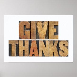 Dé las gracias - concepto de la acción de gracias poster