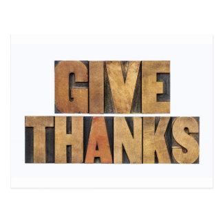 Dé las gracias - concepto de la acción de gracias postal