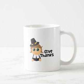 Dé las gracias tazas de café