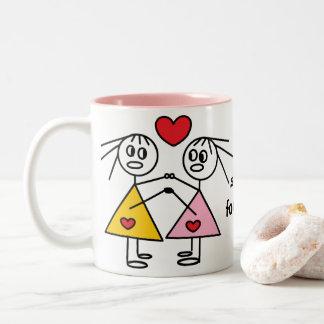 De las hermanas figura adorable taza del palillo