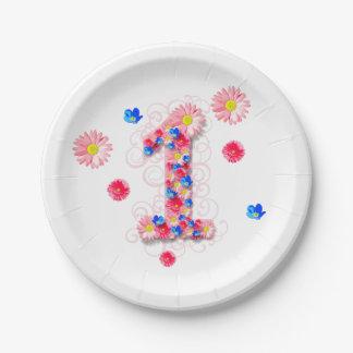 De las niñas flor rosada una del 1r cumpleaños plato de papel