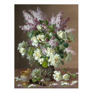 De Longpré Roses y postal de la flor de las lilas