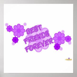 De los mejores amigos flores púrpuras para siempre impresiones