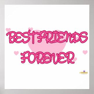 De los mejores amigos Lt rosado Hearts para siempr Poster