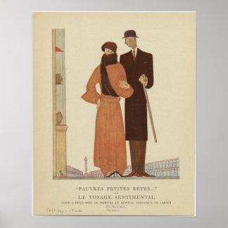 de los pares del art déco de los años 20 el viaj poster