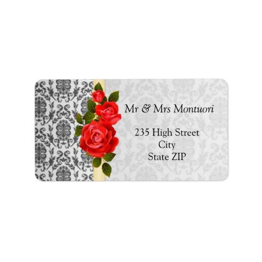 De los rosas grises del damasco etiqueta negra del etiquetas de dirección