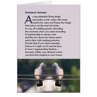 De los socios poema para siempre con la paloma tarjeta de felicitación