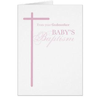 De madrina en el bautismo del chica, cruz rosada tarjeta de felicitación