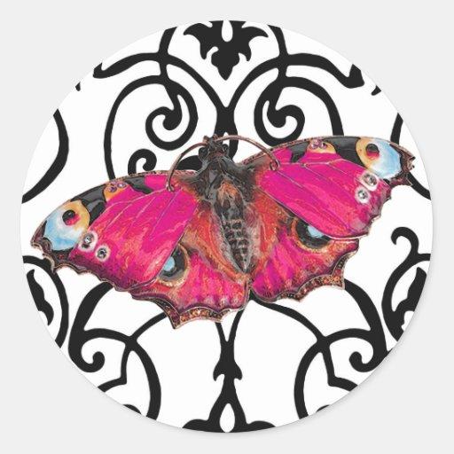 ~ de Mariposa (mariposa) Etiqueta Redonda