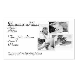 Dé masajes al terapeuta al negro y al blanco en b tarjeta de visita