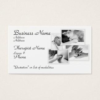 Dé masajes al terapeuta, al negro y al blanco en tarjeta de negocios