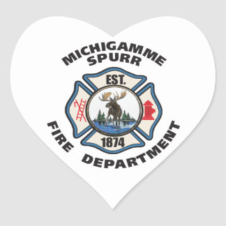 De Michigamme Spurr del cuerpo de bomberos del log Pegatina De Corazón Personalizadas