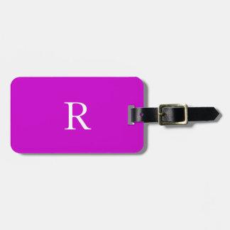 De moda blancos púrpuras del nombre de las etiqueta para maletas